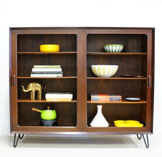 Cyber Monday Sale Danish Modern Rosewood  Bookcase Cabinet with Hair Pin Legs