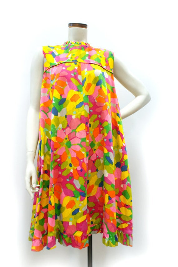 On Hold Vintage 1960s-1970s Multi Colored Cotton Trapeze Dress