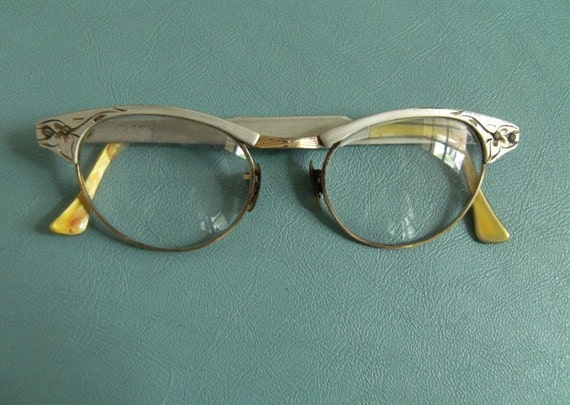 Vintage Cat Eye Glasses Frames Silver Cut Aluminum 1950s