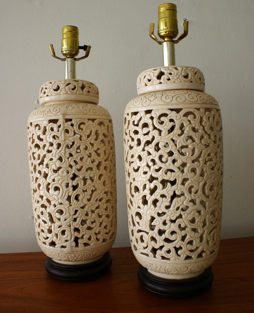 Vintage Blanc De Chine Ginger Jar Lamp Set Hollywood Regency