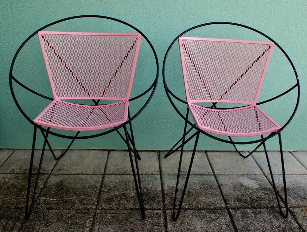Vintage Mid Century Atomic Pink And Black Salterini Hoop Patio
