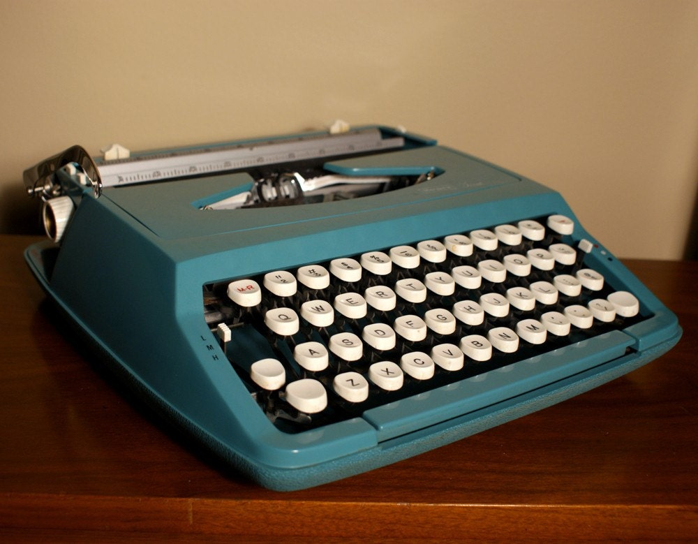 Vintage blue typewriter with original by themodernhistoric on etsy