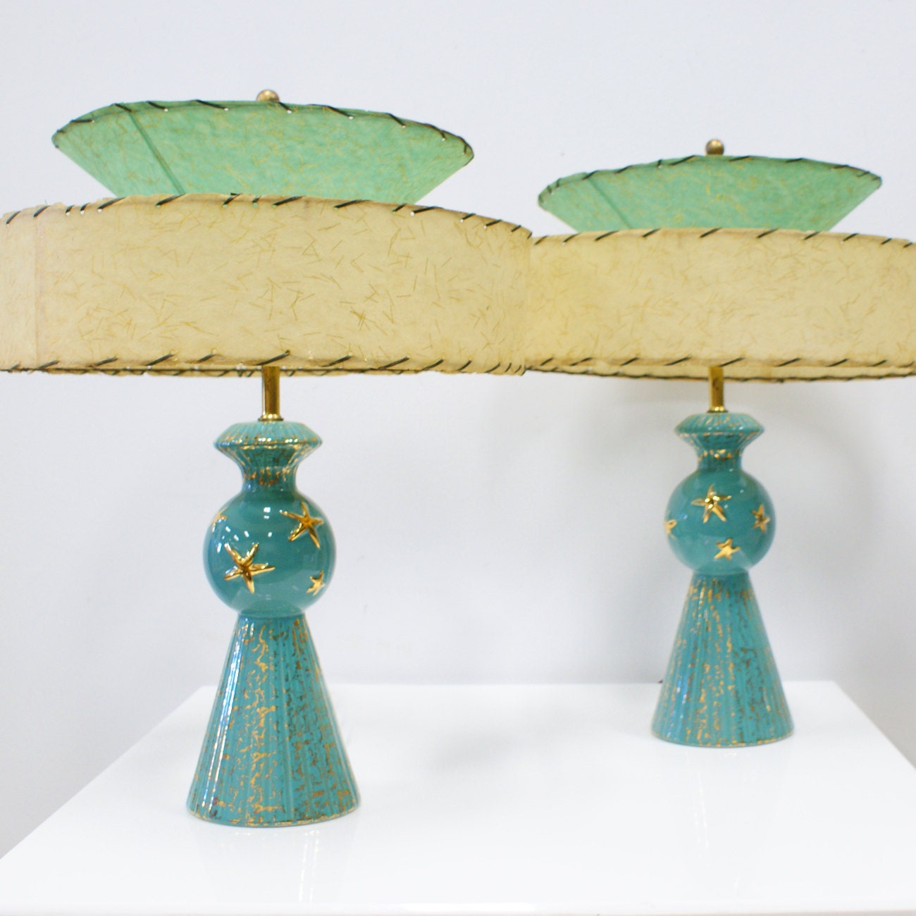 Pair Of 1950s Lamps With Gold Stars And Speckles Very Mid