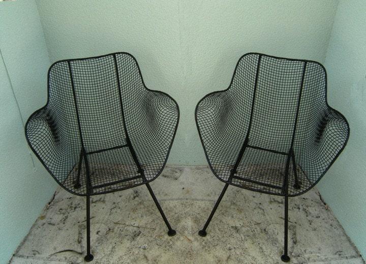 2 Woodard Sculptura Patio Chair Set Mid Century Eames