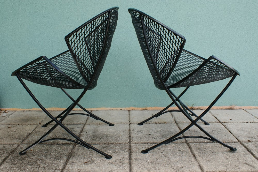 VINTAGE 2 MID CENTURY SALTERINI PATIO CHAIR SET EAMES ERA