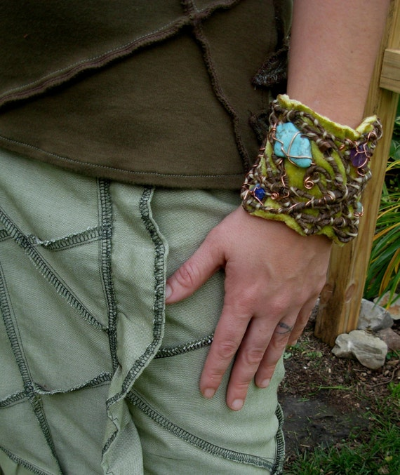 50 percent off Sale LOVE CUFF amazing cuff bracelet Hippie Patchwork Eco Namaste' Creations