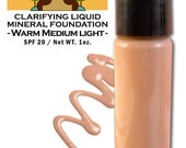 Natural and Organic Liquid Mineral Foundation In Warm Medium Light Hyaluronic Acid Non-Comedogenic  Vegan Makeup