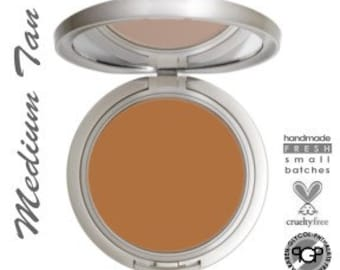 All Natural Mineral Cream Foundation Compact in MEDIUM TAN  Acne Safe Mineral Makeup  Non-Comedogenic  Organic Ingredients