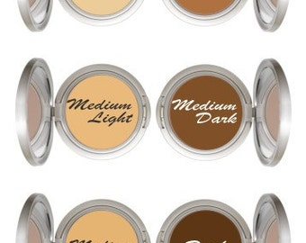 All natural Cream To Powder Mineral Foundation In MEDIUM DARK or DARK  Acne Safe Makeup   Non-Comedogenic with argan oil