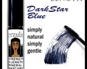 ON SALE Natural and Organic Mineral Mascara  in Darkstar Blue with pro-vitamin B5    Gentle Mascara Formula