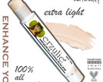 Natural Mineral Concealer Stick  Natural Acne Safe Makeup With Argan Oil  with color adusting minerals Extra Coverage in EXTRA LIGHT