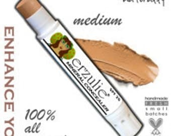 Natural Mineral makeup Concealer in MEDIUM  acne safe makeup non-comedogenic  extra coverage with argan oil