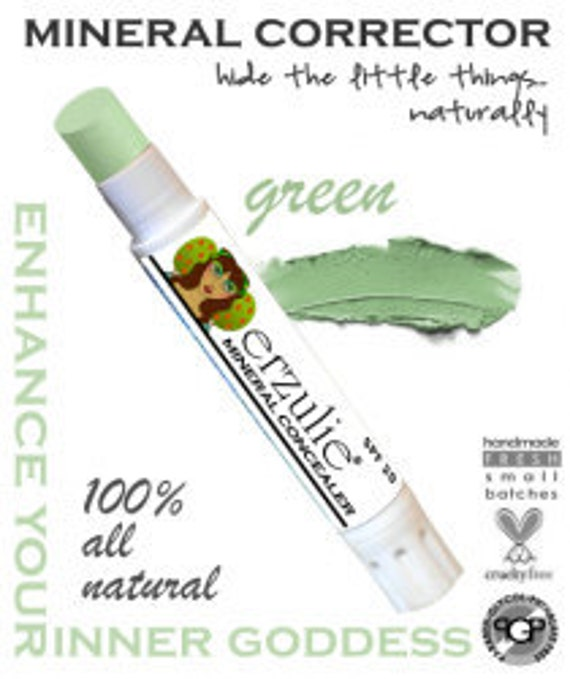 Natural Mineral Makeup Corrector Stick  in Green From   Non-comedogenic  Acne Safe Makeup