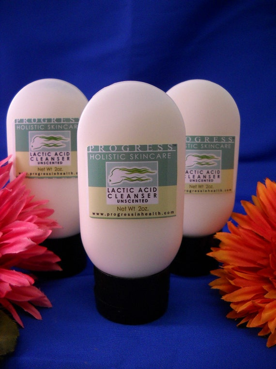 Natural Lactic Acid Clarifying Cleanser  Unscented   Vegan and All Natural  Clear Skin Formula