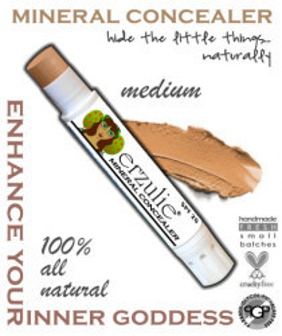 All Natural Erzulie Mineral Concealer in MEDIUM  acne safe makeup non-comedogenic  extra coverage with argan oil