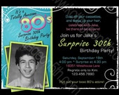 Totally Awesome 80s - Adult Men's or Women's Birthday Party Invitation - ANY AGE  -  Printable Digital Photo Card 30th 40th 50th