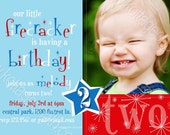 SALE - Little Firecracker - Any Age - 4th of July Birthday - Printable Invitation - Personalized Digital Photo Card for your Boy or Girl