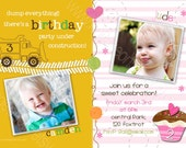 Cupcakes Under Construction - Printable JOINT Birthday Party Invitation - Digital Card Design ANY AGE Boy and Girl - 1st, 2nd, 3rd, 4th, 5th