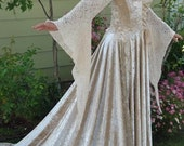 Medieval Velvet and Lace Gown with Train Large Champagne