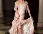 New Style Fishtail Fairy Mermaid Silk Gown with Ruffles Custom