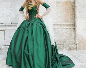Miranda Medieval Corset Gown Silk and Chiffon Custom