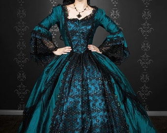 Gothic Marie Antoinette Peacock Fantasy Gown Upscale Costume Custom