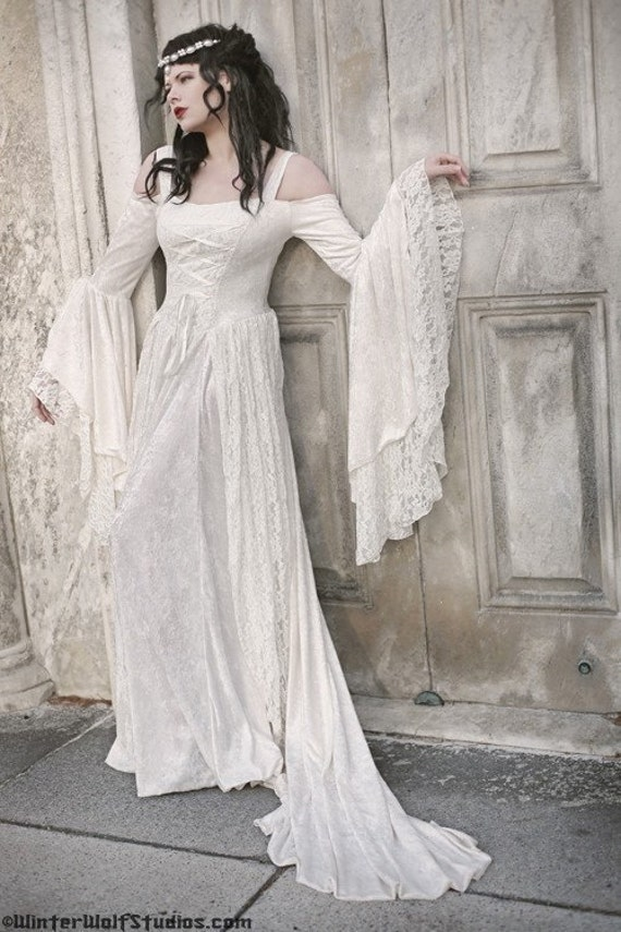 Items similar to gwendolyn medieval velvet and lace for Velvet and lace wedding dresses