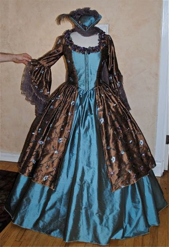 Chocolate Embroidered Marie Antoinette One of a Kind Gown with Hat Medium