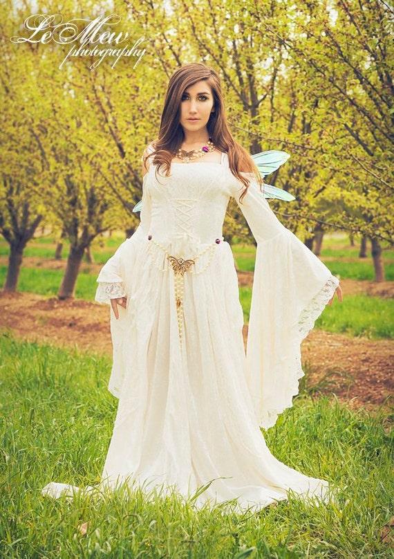 Items similar to gwendolyn medieval or renaissance wedding for Velvet and lace wedding dresses