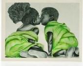 Green Boy and Girl 1  (Notecard)