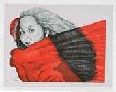 Red Girl 1  (Notecard)