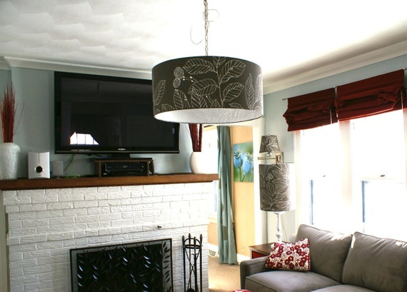 Grey print 24 inch drum shade pendant light fixture reserved for user medelinepreiest