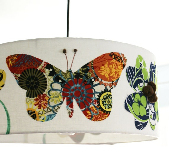 18 inch drum pendant light fixture butterflies and flowers