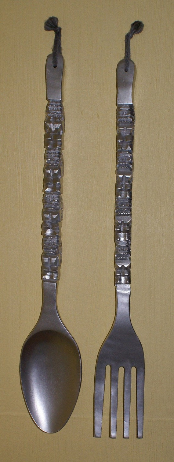 Large Vintage Fork And Spoon Wall Decor
