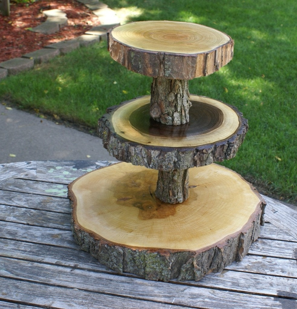 3 Tier Wood Slice Small Cupcake Stand For Emily