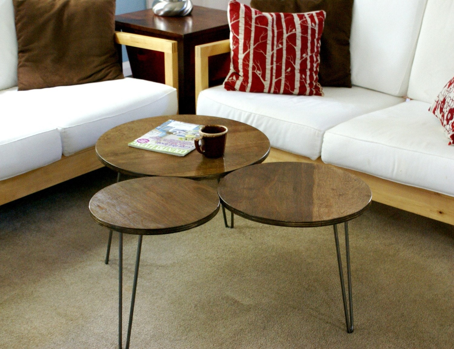 Mid Century Modern Tri Circles Coffee Table Made To Order