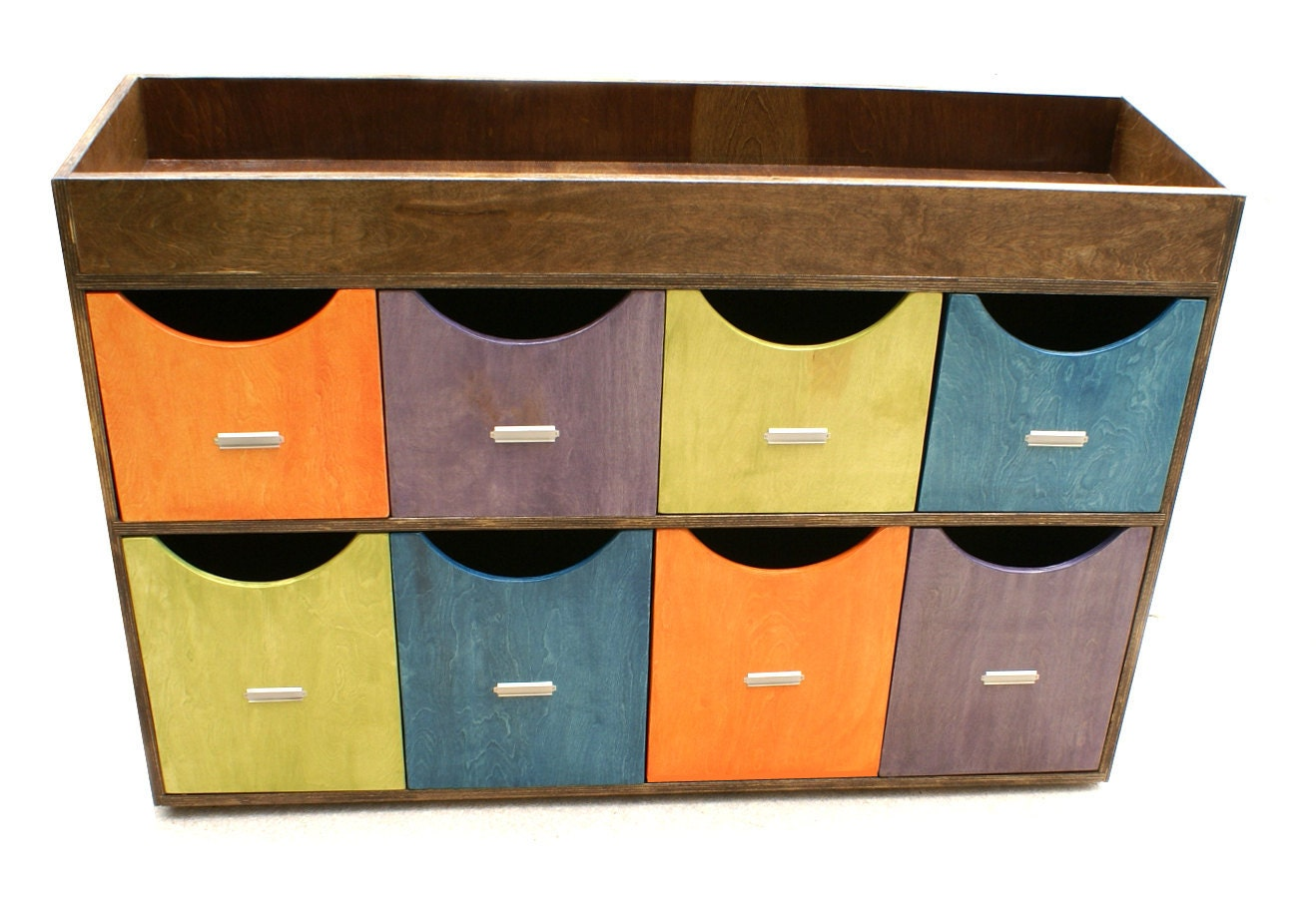 Modern Child Storage Unit With Bins