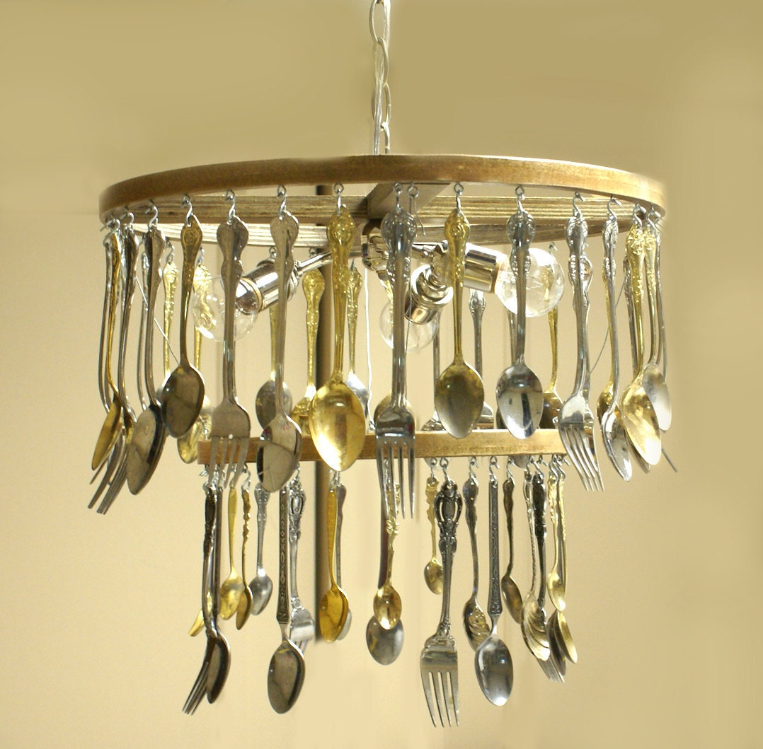 Custom Made To Order Silverware Chandelier Reserved For