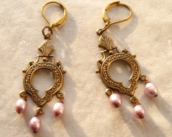 Victorian Brass and Lavender Pearl Drop Earrings
