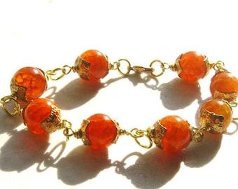 Orange Bracelet Cracked Agate on Brass