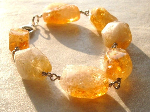 Citrine Stone and Sterling Silver Wire Wrapped Bracelet