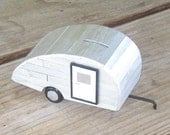 Coin Bank - Little Old Teardrop Trailer Bank With Silver Finish (no. S8W)