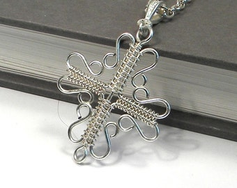 Silver Wire Wrapped Cross Necklace