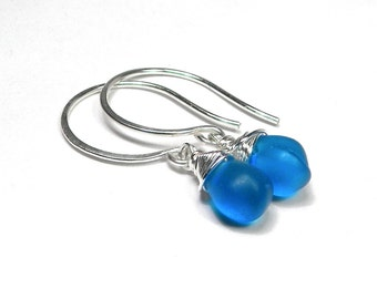 Blue and Silver Wrapped Earrings
