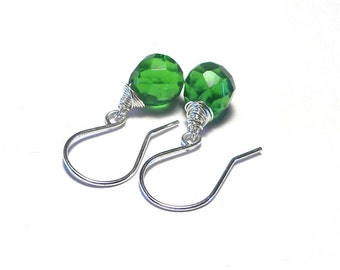 Emerald Green Wrapped Earrings