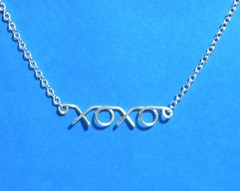 XOXO hugs and kisses silver wire necklace