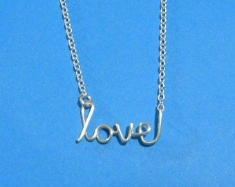Silver wire LOVE necklace