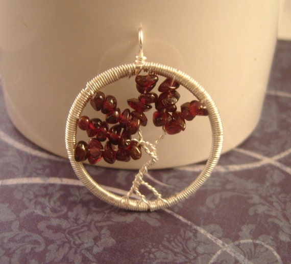 SALE - Garnet Tree of Life Pendant (15 PERCENT OFF)