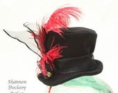 Top Hat Tophat Mini Black Felt with Ribbons and Red feather - Custom Avaliable