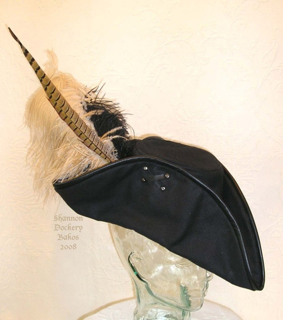 PIRATE HAT Black Leather and Canvas Tricorn with Feathers by Shannon Dockery Bakos